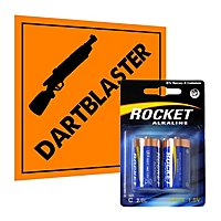 Rocket Alkaline C Quality Battery 2 Pack for blasters and toys - e.g. NERF Rapidstrike, Nitron