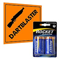 Rocket Alkaline D Quality Battery 2 Pack for blasters and toys - e.g. NERF Rhino-Fire, Havoc, Vulcan, Stampede