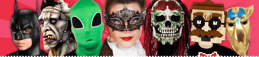 Horror- & Halloween Masken, Schaumlatex Masken, Tiermasken, Kindermasken, venezianische Masken