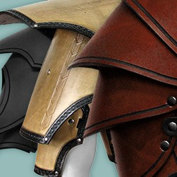 Handcrafted shoulder guards for LARP armor made of genuine heavy grade leather – fantasy or medieval, high quality and in a variety of styles.