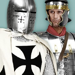 Metal armor in historic or fantasy designs, high quality and durable.