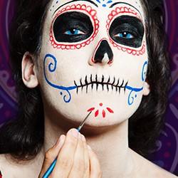 Dia de los Muertos welche Schminke, Dia de los Muertos Schminke,  Sugar Skull Gesicht-Klebetattoo,  Dia de los Muertos Halloween Makeup, Dia de los Muertos welche Make-up, el Dia de los Muertos Makeup, Dia de los Muertos art Make up, Dia de los Muertos Sk