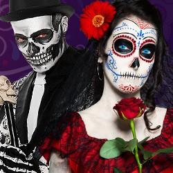 Dia de Los Muertos Party, Dia de los Muertos-look, Dia de los Muertos Kostüm shop, Sugar Skull Maske, Dia de Los Muertos Kostüme kaufen, Dia de Los Muertos Make-up, Dia de Los Muertos Schminke, Dia de Los Muertos Maske, Dia de Los Muertos Klebe-Tattoos, C