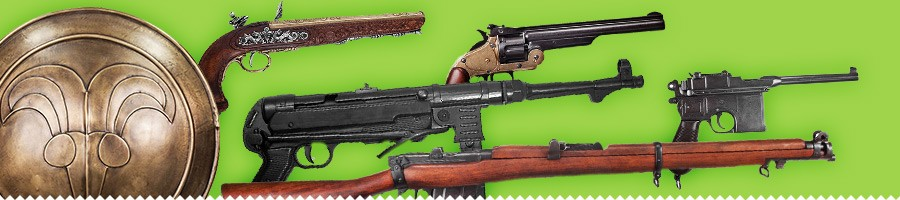 Guns. Rifles and all kinds of weapons for your costume