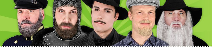False (Fake) Beards Made of Real Human Hair. Moustaches. Chin & Full Beards