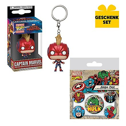 Marvel - Geschenk-Set aus Captain Marvel Funko Pocket POP! Figur & Marvel Ansteck-Buttons