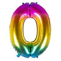 Folienballon Zahl 0 Regenbogen 86 cm