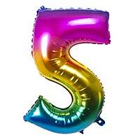 Folienballon Zahl 5 Regenbogen 86 cm