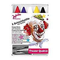 Fünf Karneval Schminkstifte mit Spitzer
