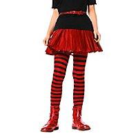 Gestreifte Strumpfhosen rot-schwarz für Kinder