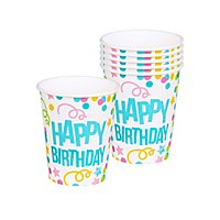 Happy Birthday Pappbecher 6 Stück