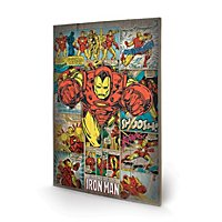 Iron Man - Holz-Print Retro