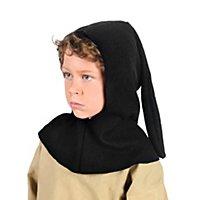 Mittelalter Gugel schwarz für Kinder