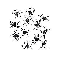 Schwarze Spinnen Halloween Deko 12 Stück