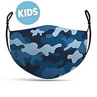 Stoffmaske für Kinder Camouflage navy blau