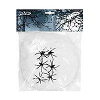 Weiße Spinnweben 100 g mit Spinnen