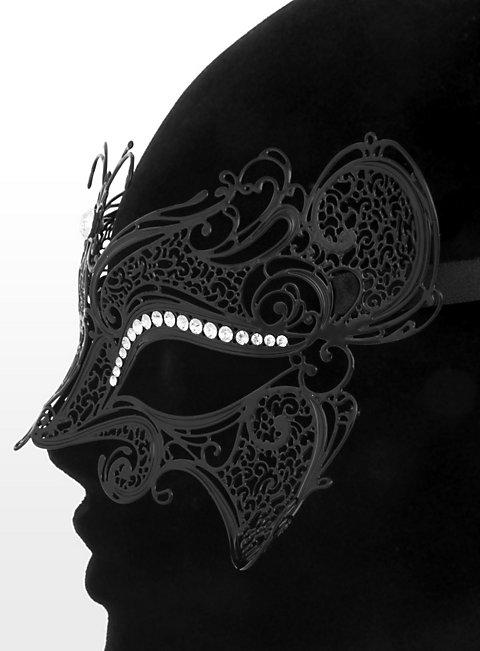 Colombina Farfalla de metallo nero Venetian Metal Mask