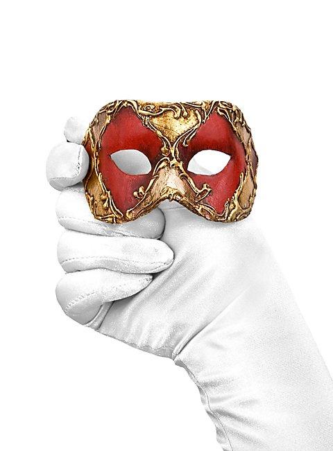 Colombina piccolo scacchi rosso oro Venezianische Miniaturmaske
