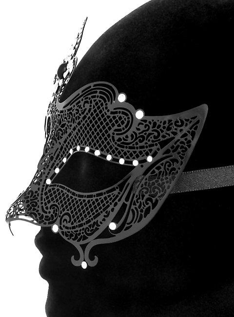Colombina Regina de metallo nero Venetian Metal Mask