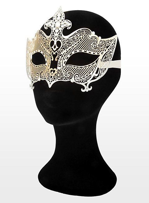 Colombina Regina de metallo oro argento Venetian Metal Mask
