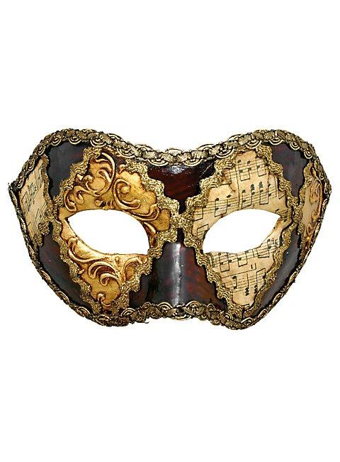 Colombina scacchi oro cuoio musica - Venetian Mask