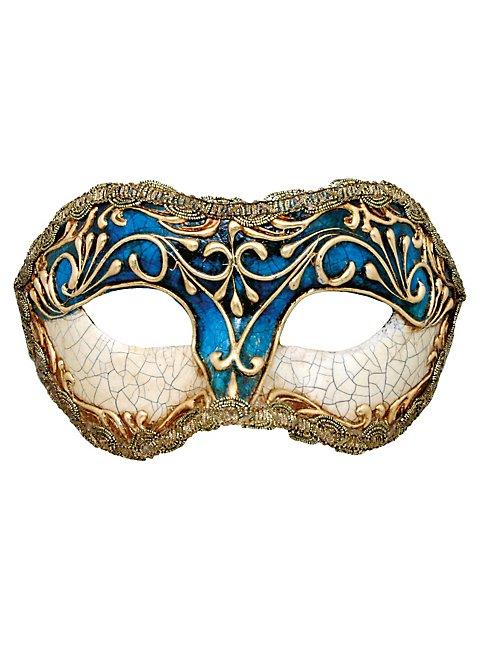 Colombina stucco craquele blu - Venezianische Maske