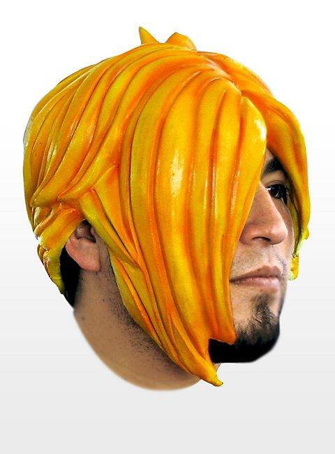Emo orange Latexperücke