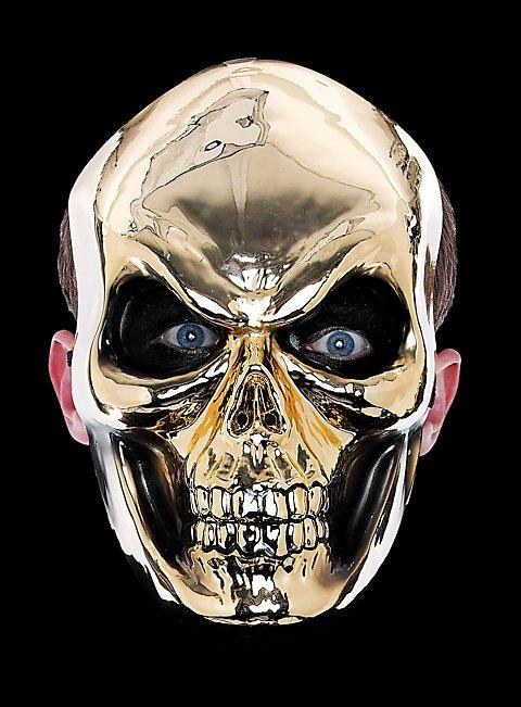 Goldschädel Halbmaske aus Kunststoff