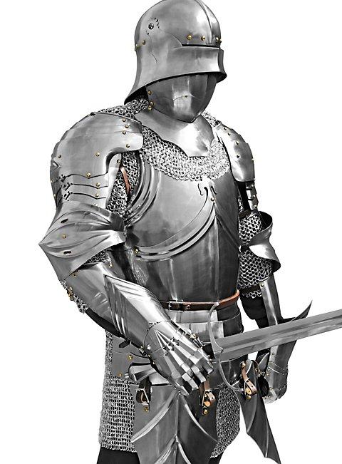 Gotischer Panzerharnisch mit Beintaschen aus Stahl