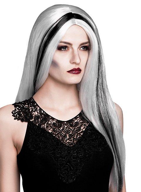 Hexe Perücke weiß-schwarz