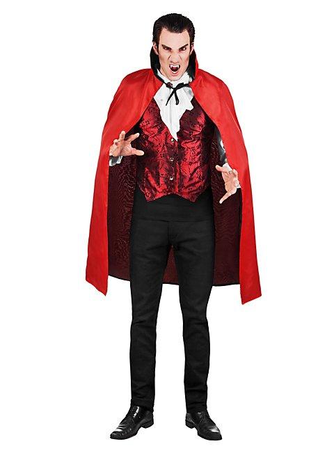 Kurzes Vampir-Cape schwarz-rot zum Wenden