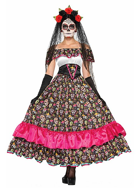 Langes Sugar Skull Kleid
