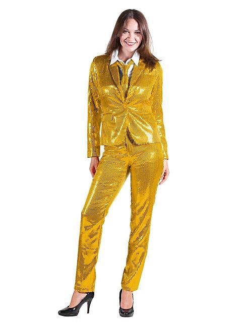 Pailletten Anzug für Damen gold
