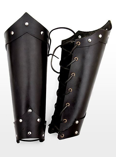 Roman Leather Greaves black