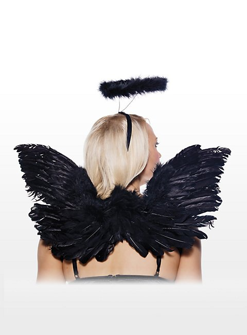 sexy schwarzer engel accessoire set engel kost m. Black Bedroom Furniture Sets. Home Design Ideas