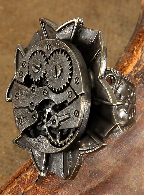 steampunk ring uhrwerk antik. Black Bedroom Furniture Sets. Home Design Ideas
