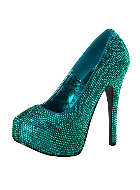 Strass high heels petrol for Dekoartikel in petrol