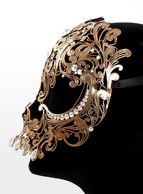 Teschio ornamentale de metallo aureo Venezianische Metallmaske