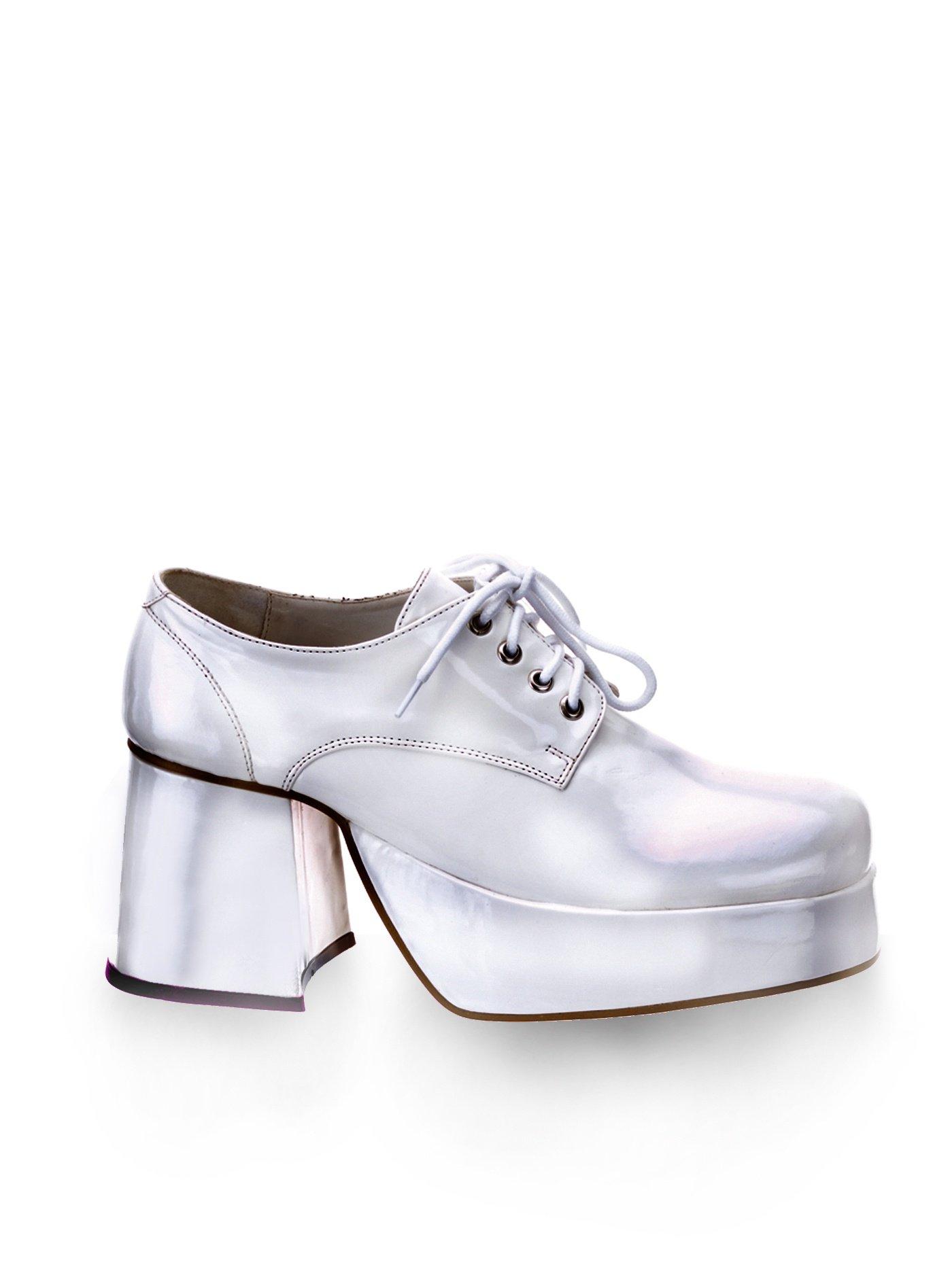 Details zu 70er Herren Plateau Schuhe Weiß Disco Kostüm Schuhe Hippie Schlager
