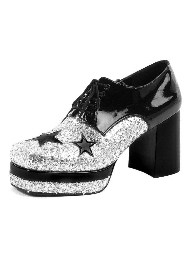 Details zu 70er Herren Plateauschuhe Silber mit Sternen Disco Kostüm Hippie Schlager Schuhe
