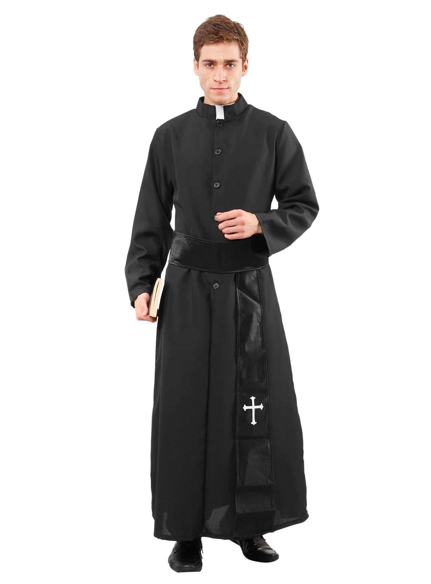 details zu katholisches pfarrer kostüm gewand schwarz soutane priester