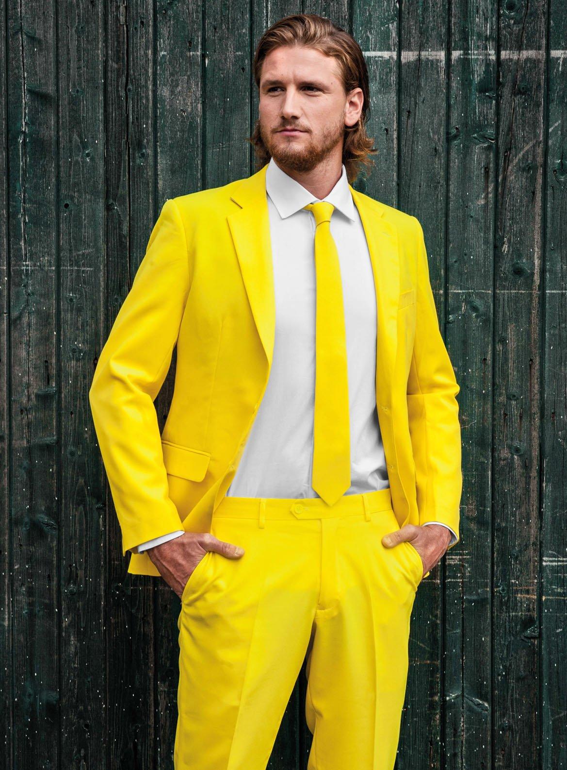 Details zu OppoSuits Yellow Fellow Anzug mit Krawatte Hose Jacket Slim Fit Gelb