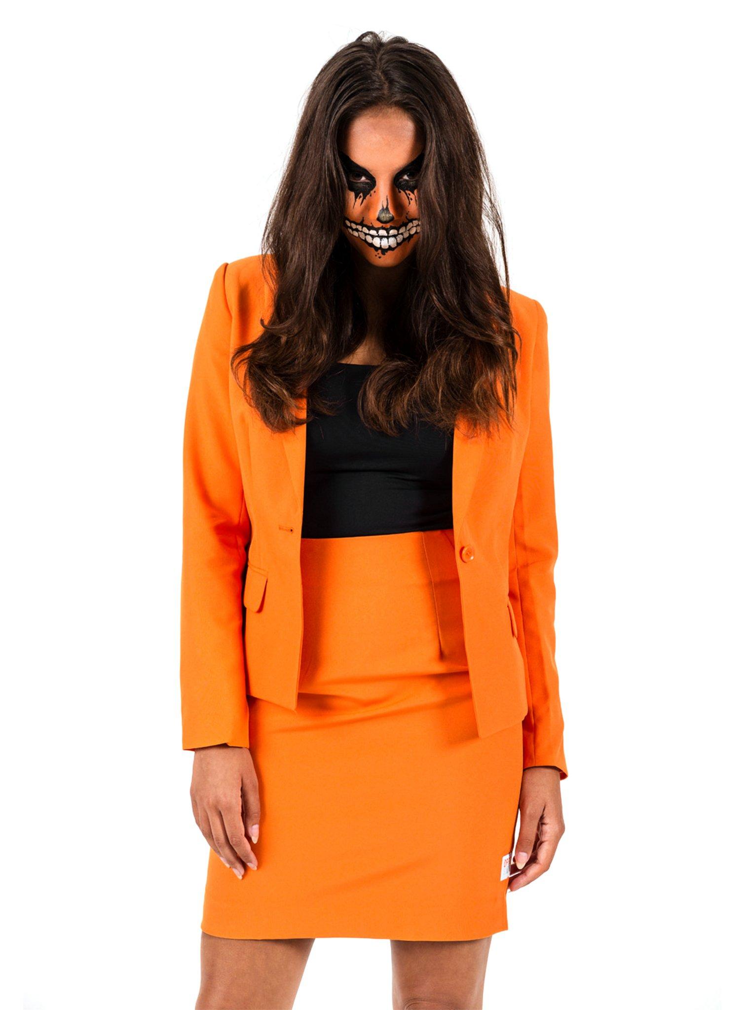 OppoSuits Foxy Orange Damen Anzug Kostüm mit Rock und Jacket