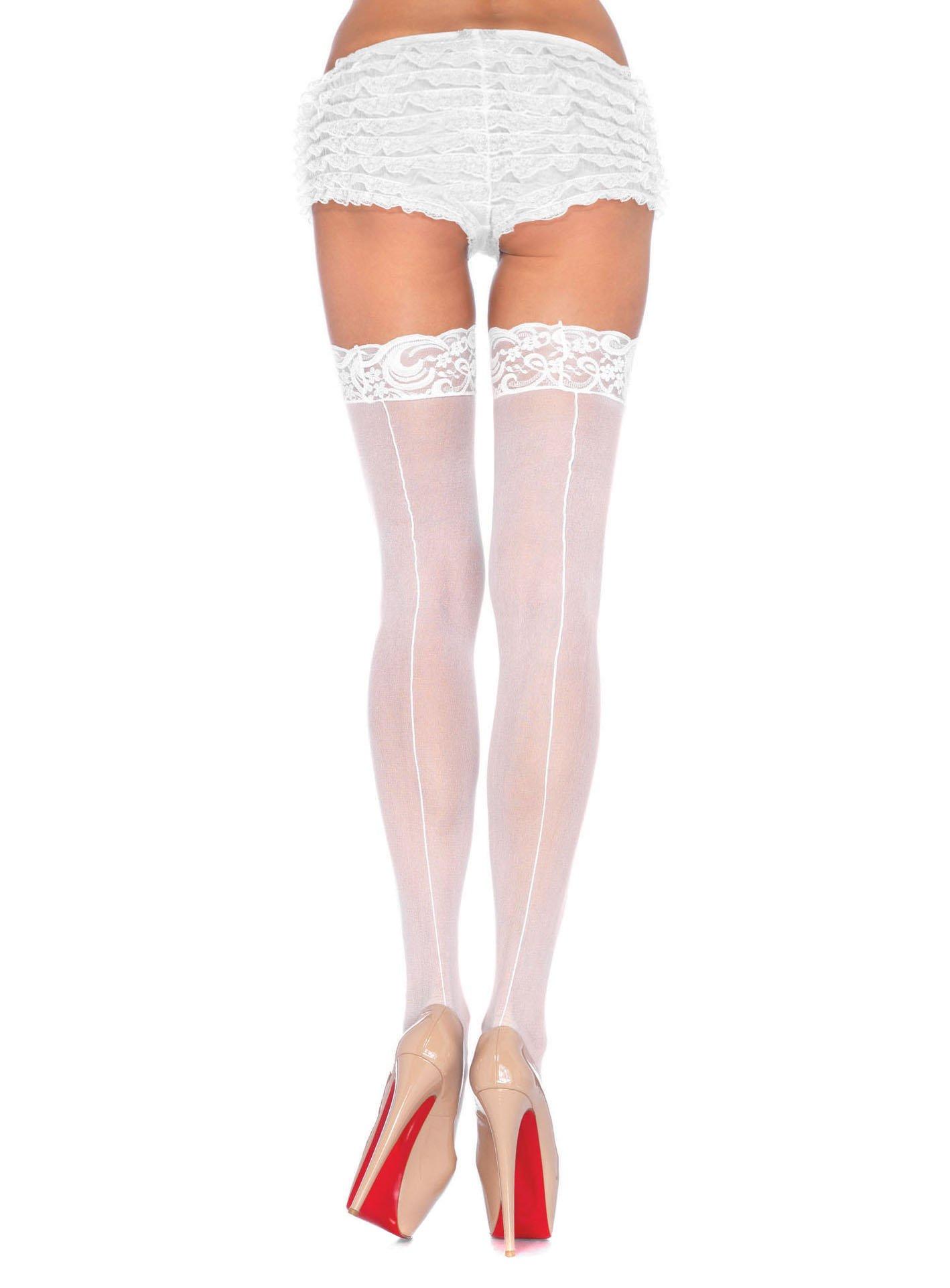 Weiße seidige Unterhosen mit Spitzenabschluss 3//4 lang Gr Fasching Karneval L