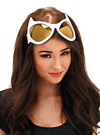 Katzenaugen Brille weiß