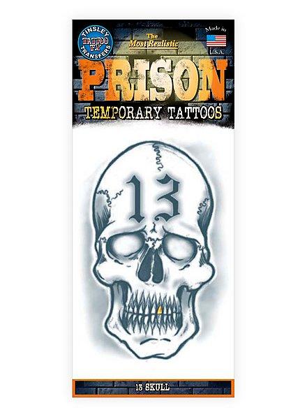 13 Skull Temporary Prison Tattoo