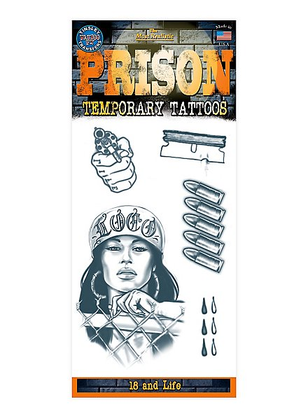 18 and Life Prison Temporary Tattoo Kit