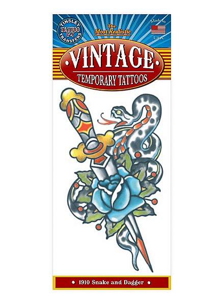 1910 Snake & Dagger Temporary Tattoo