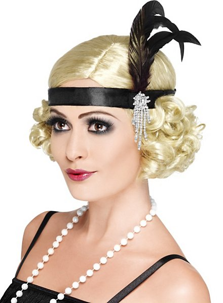 1920s Flapper Headband black with Feathers