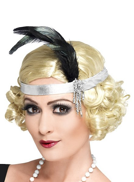 1920s Flapper Headband silver with Feathers